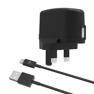 Griffin 2.4 Amp 3-Pin USB Fast Wall Charger + Micro USB 1m Cable Lead Black
