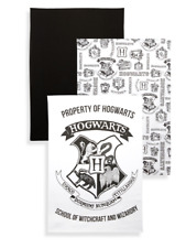 Harry Potter Tea Towel Kitchen 3 x Pack White & Black Hogwarts Primark Cotton