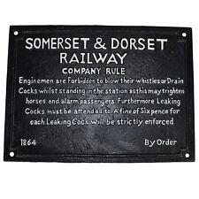 Somerset & Dorset Railway Train Cast Iron Sign Plaque Wall Fence Gate Door