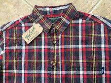 Woolrich Button Down Casual Shirt Mens L Red Multi Plaid Cotton Long Sleeve NWT