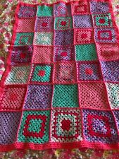 Hand Crochet Lap/Baby Blanket Granny Squares Pink/Purple/Turquoise 110 x 80cm