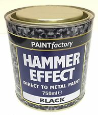 Hammer Effect Black Direct To Metal Paint 650ml Large Can Like Hammerite