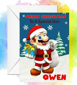 Personalised Christmas Card Mario any name/relation