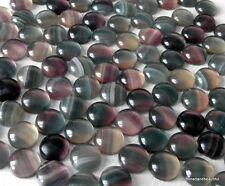2 x Rainbow fluorite domed gemstone cabochons round 12mm diameter flat back