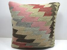"Anatolia Turkish Kilim Rug Pillow Cover 16"" X 16"" Boho Rug Cushion Throw Pillows"