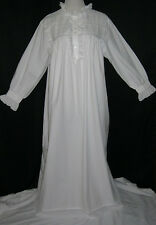 Nightgown Romantic Long Victorian PAST TIMES White Cotton L-XL Eyelet Lace