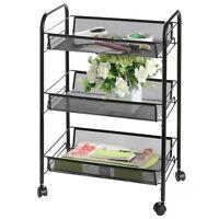 3 Tier Metal Rolling Utility Cart Kitchen Trolley Cart Mobile Storage Shelf Rack