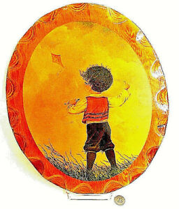 """Oval Lacquered Wood Painting by G. Ranck Child Boy Flying Kite 17"""" x 14"""" Vintage"""