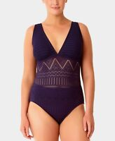 Anne Cole Plus Size 22W Navy Crochet Overlay One Piece Maillot Swimsuit NWT $108