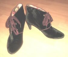 Joe Browns BLACK VELVET Goth Steampunk  Boho Ankle Boots with PURPLE Laces 8 UK