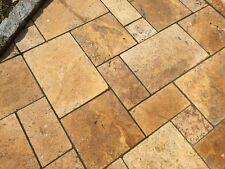 Travertin Gelb Naturstein Terrassenplatten Gehwegplatten Gartensteine Muster