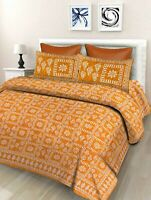 Indian Floral 100% Cotton Double Bed Sheet With 2 Pillow Covers, Golden Yellow
