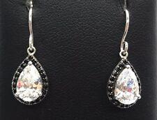 Sterling Silver Faceted Pear CZ Black Onyx Halo Petite Drop Dangle Hook Earrings