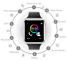 A1 Bluetooth Smart watch GSM SIM for iPhone and Samsung Android Phone