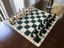 Staunton European Chess Set. 32 Cream & Black Che With Blue Silicone Board.