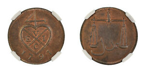 India Bombay Presidency 1/2 Pice PROOF 1791 KM# 192 NGC Graded PF 63 RB