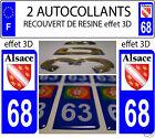 2 STICKERS RECOUVERTE DE RESINE PLAQUE D IMMATRICULATION HAUT RHIN DEP 68 ALSACE