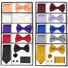 0b55e9296293 Berlioni Men's Microfiber Tie Bowtie Lapel Pocket Square Cufflinks Gift Set  Box
