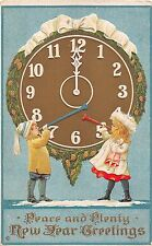 Children Blowing Horns in Front of Big Clock At Midnight-1914 New Year PC-S203 A