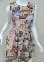 Charm is Bazaar Dress Sailboat Brown Watercolor Skater Dress Size Medium