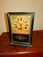 Antique 19th Century American Oak Mantel Clock with Key & Pendulum - Gladstone