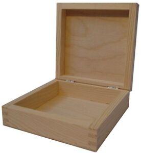 Pine wood square flip lid box DD150 storage trinket jewellery case ring wooden