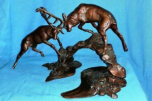 Bronze Rutting Stags Over Water - Dawn Contest, Richard Cooper & Co