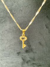 18 Carat 18K Gold Filled Wave Chain Necklace With Crystal Key Pendant 45cm
