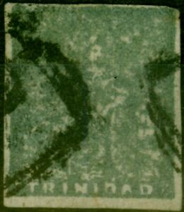 Trinidad 1860 (1d) Bluish Grey Provisional 5th Issue SG19 Good Used Example