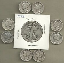 Walking Liberty Half & Mercury Dimes - 90% Silver - Us Coin Lot - 9 Coins #4574