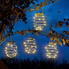 4Pc Solar Powered Hanging LED Beehive Style Spiral Wire Lantern String Lights