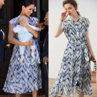Meghan Markle Newest 100% Silk Dress Navy White Multi Print Belt Floating Peplum