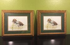 2 Rare Signed Joel Kirk Matted Teal Male Duck Oak wood Framed Fine Art Print Set