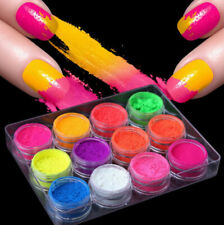 ✅Set of 12 neon nails powders UV gel smoky effect rainbow dust pigment