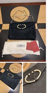 New Auth Valentino Garavani V Rivet Chain Suede Clutch Bag Handbag Purse $1495