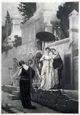 "• 1883 ORIGINAL PHOTOGRAVURE • "" Promenade in Pompeii "" by G. R. Boulanger •"
