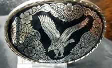 """FLYING EAGLE Belt BUCKLE 3 1/4"""" Glossy Oval BLACK and SILVER with Rope Edge"""