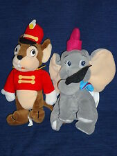 "7"" DISNEY STORE beanbag plush DUMBO the Flying Elephant w/RED Hat & TIMOTHY"