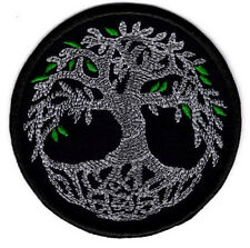 Celtic Tree of Life Silver with Green Leaf's Patch Celtic Tree Badge Iron/Sew on