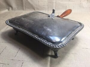 Vintage/Antique Silent Butler Wood Handle Crumb Ash Tray Silver Plated [KC04]