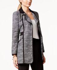 Laundry Suit Jacket Sz 6 Black Multi Tweed Ponte Faux Leather Long Career Blazer