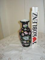 Aus Nachlaß: Antike Vase_17 cm_superschön - schwarzer Grund_bezaubernder Dekor