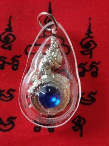 Pendant Talisman Naga Snake Dragon Peg Bead Blue Thai LP Amulet Talisman # 33