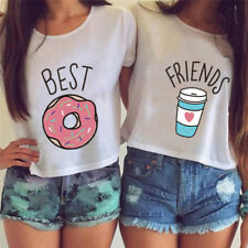T-shirt Funny Best Friends T Shirt Donut And Coffee Flowy Print Tees Couple Gt