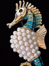 TEAL BLUE GREEN PEARL OCEAN SEA LIFE SEA HORSE SEAHORSE PIN BROOCH JEWELRY 2""