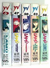 Lotto 5 VHS LAMU' I FILM 2-6 Yamato Video 1992-1997 Lamù Urusei Yatsura RARE
