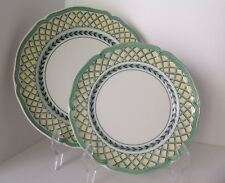 2 Villeroy & Boch FRENCH GARDEN Orange Trellis Dinner + Salad Plate