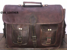 "18"" Vintage Leather Messenger Men Shoulder shoulder Laptop Surface Crossbody bag"