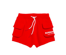 Burberry Boy Logo Lettering Knit Cotton Drawstring Shorts Red White Size 8Y NWT!