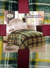 Queen Flannel Blanket Super Soft Feel Comfortable Warm Throw Cover Green Yellow
